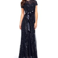 R&M Richards Embroidered Sequin Panel Gown | Dillards