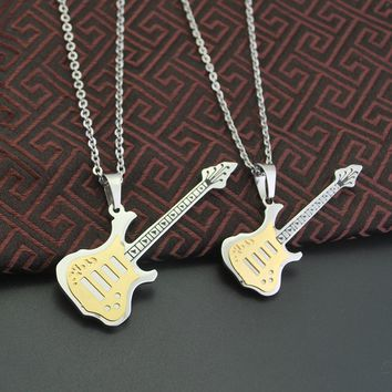 Guitar Rock&Roll Couples Pendant Necklace