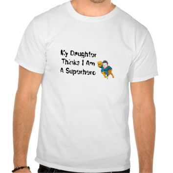 """Superhero"" White T-Shirt for Dad / Father's Day"