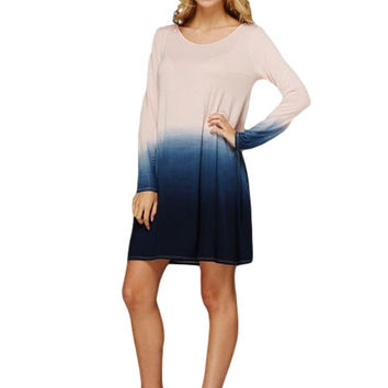 Fade Into You Dip Dye Tunic Dress (Blush/Navy)