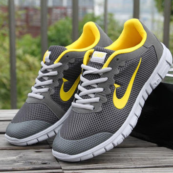 Women Men Running Sport Casual Shoes Sneakers Grey yellow hook