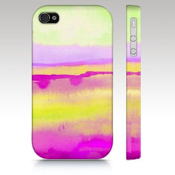 iPhone 5 case, iPhone 4s case, iPhone 4 case, iPhone 5 case, watercolor design, abstract painting, pink lime yellow art for your phone