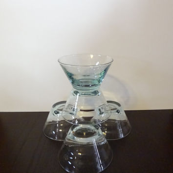 Vintage Teal/Aqua OMBRE Glass Dessert Bowls, Sorbet Dish, Custard/Pudding Cups - Set of 5 - Retro/Mid Century Modern