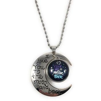 Snap Charm I Love You to the Moon and Back Pendant-Includes Chain and Snap