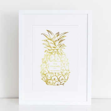 Gold Pineapple Chanel No5 Print, Golden Pineapple, gold chanel, coco chanel, Golden Pineapple, gold No5 Guest Room Decor, Tropical Wall Art