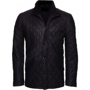 Handmade Men's chelsea quilted cut leather jacket