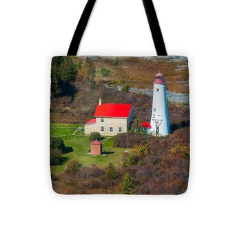 Thunder Bay Island Lighthouse - Tote Bag