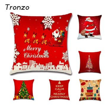 Tronzo 45*45CM Christmas Decorations For Home Xmas Pillowcase Tree Santa Claus Linen Cushion Cover Set Red Pillow Case