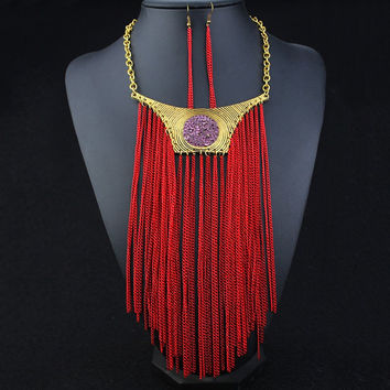 Red Chain Faux Amethyst Necklace and Earrings