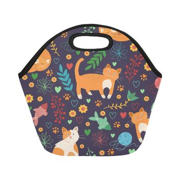 Seamless Pattern With Cute Cats Neoprene Lunch Bag/Small (Model 1669)
