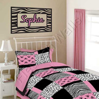 Zebra Wall Decal - Personalized Vinyl Animal Print Border and Name Wall Decal for Baby Girl Nursery and Toddler or Teen Room CN024