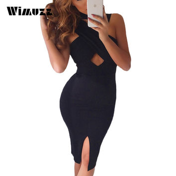 Wimuzz Criss Cross Elegant Pink Dress Women Bodycon Knee Length Club Dress Sleeveless Summer Party Dresses