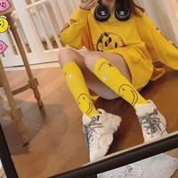 """SMFK"" Women Fashion Casual Cool Print Long Sleeve Loose  Large Socks Stockings Hoodie"