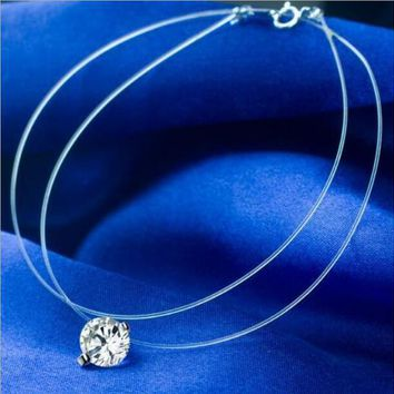 Transparent Fish Line Necklace Female Clavicle Chain Invisible Zircon Mermaid Tear Fish Bone Pendant Necklac for woman jewelry
