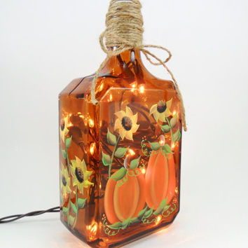 Pumpkin Sunflower Lighted Liquor Bottle Brown Hand Painted