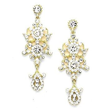 Chic Lady Clear Austrian Crystal Elegant Bohemian Boho Statement Chandelier Long Gold Earrings