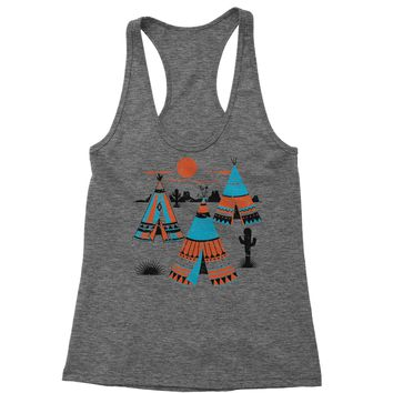 Native American Teepee Tipi Southwest Racerback Tank Top for Women