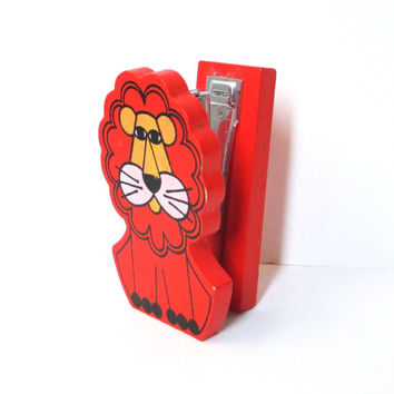 Vintage Stapler, Fitz and Floyd Lion Wooden Stapler, Cute Desk Accessories, Retro Office Supplies