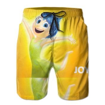 Anime Movie In Side Out Joy Poster Mens Fashion Casual Beach Shorts