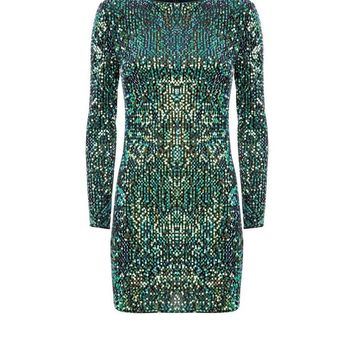 Parisian Green Iridescent Sequin Dress | New Look