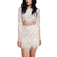 Best Price for Sexy Women Two-piece Lace Skirt Set Floral Slim Bodycon  Dress Crop Top+Mini Skirt Set