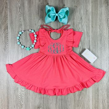 RTS Coral Twirl Dress With Optional Monogram D79