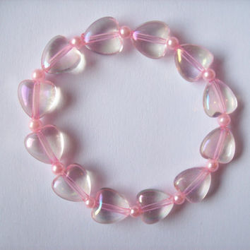 Fairy Sugar II - Pastel Pink Iridescent Hearts Stretch Bracelet with Pink Glass Pearls