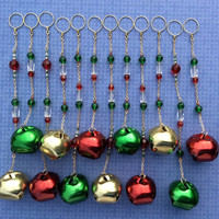 Christmas Bell Shower Curtain Decoration. Perfect for the Holiday Season.  12 strands. Red Green Gold