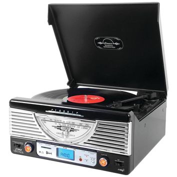 Pyle Home(R) PTR8UBTBK Bluetooth(R) Retro Vintage Classic Style Turntable Vinyl Record Player with USB/MP3 Computer Recording