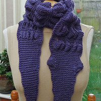 Hand Knitt Unisex Alligator/Gator/Crocodile Chunky Scarf , Crocodile Scarf in Purple, UK Seller