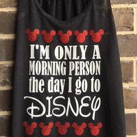 Free Shipping!! Disney Racerback Tank Top - Morning Person/ Mickey Mouse/ Minnie Mouse/ Disney Monoram Tank Top/ Disneyland/ Disneyworld