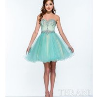 Terani 151P0023 Aqua & Nude Strapless Sweetheart Party Dress 2015 Prom Dresses