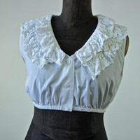 Vintage Blouse Cropped Midriff White Cotton Lace Sleeveless 80's Dirndl Blouse Peasant size Small/Medium 40