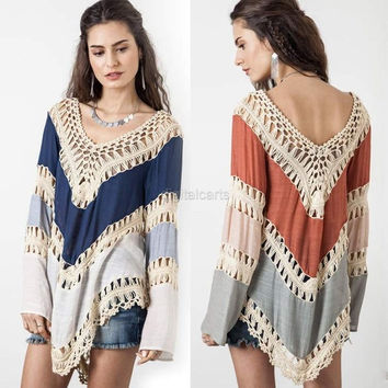 Casual Loose Women V-Neck Long Sleeve Knit Splice Hollow Out Irregular Hem Blouse Tops D_L SV022033 = 1958332676