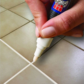 Grout-Aide Grout and Tile Marker Ceramic Tile Reface Repair Pen White Reversible Nib [8045578567]