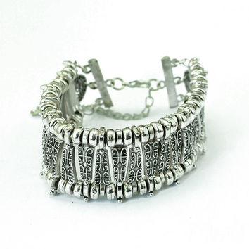 Bohemian Antalya Bracelet Silver Golden Gypsy Statement Festival Turkish Jewelry Tribal Ethnic (Size: 43 g, Color: Silver)