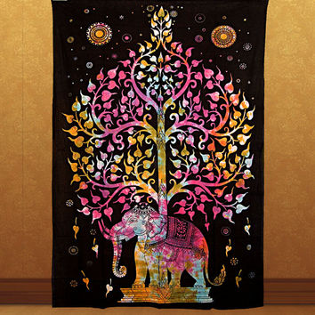 TYE DYE elephant twin tapestry tree of life tapestries hippie wall hanging indian bohemian boho bedding throw bedspread bedcover wall decor