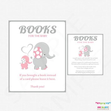 Pink and Gray Baby Shower, Book Request Baby Shower, Elephant Baby Shower, Bring a Book Instead of a Card Insert + Sign Printable EL0005-lp