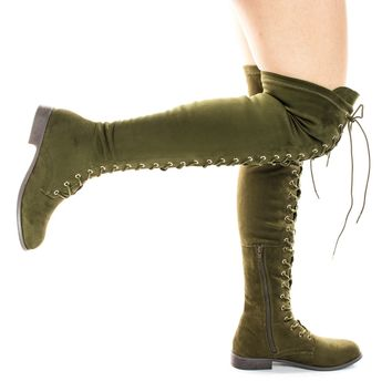 Oksana308 Over Knee Thigh High Lace Up Military Corset Boots