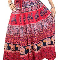 Peasant Boho Long Skirt Cotton Printed Red Maxi Skirts Womans Gift Idea: Amazon.com: Clothing