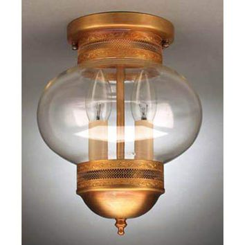Northeast Lantern 2044G-DAB-LT2-CSG Dark Antique Brass and Clear Seedy Glass Large Outdoor Ceiling Lantern with Galley - (In Dark Antique Brass w/ Clear Seedy Glass)