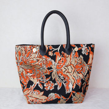 "One of a Kind Tote Bag ""Orange Gold Blossoms"" (Japanese Bag; OOAK Tote Bag; Japanese OOAK Bag Kimono Tote Bag; Gold tote bag, Japanese bag)"