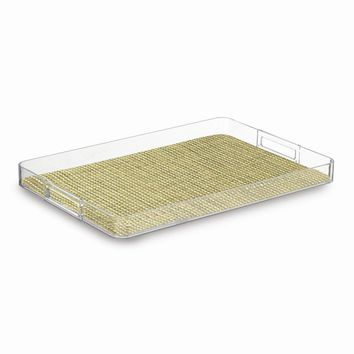 Woven Verde Lucite Serving Tray