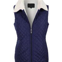 Sherpa Lined Quilted Zip Up Puffer Jacket Vest