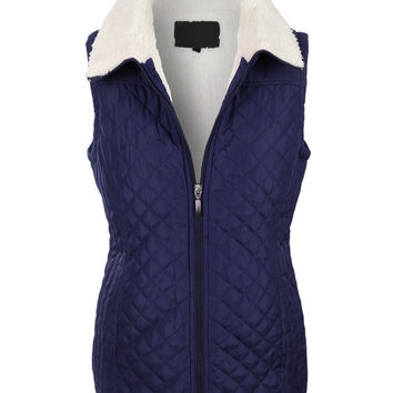 LE3NO Womens Sherpa Lined Quilted Zip Up Puffer Jacket Vest