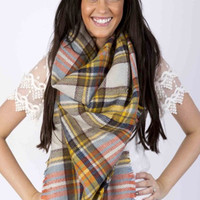 Lucky Duck Pretty in Plaid Blanket Scarf in Mustard