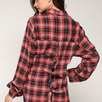 Tie Back Plaid Top in Red
