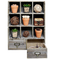 Rustic Dark Brown Wood Shadow Box Wall Mounted 9 Cubby Storage Rack with 2 Drawers & Label Holders
