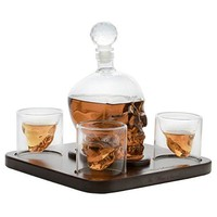 Large Skull Face Decanter with 4 Skull Shot Glasses and Beautiful Wooden Base - By The Wine Savant Use Skull Head Cup For A Whiskey, Scotch and Vodka Shot Glass, 25 Ounce Decanter 3 Ounces Shot Glass