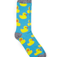 Rubber Ducky Print Socks Blue/Yellow One